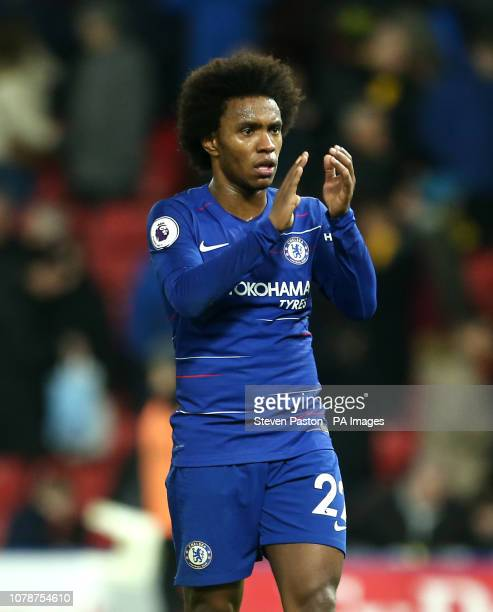 Chelsea's Willian applauds the fans