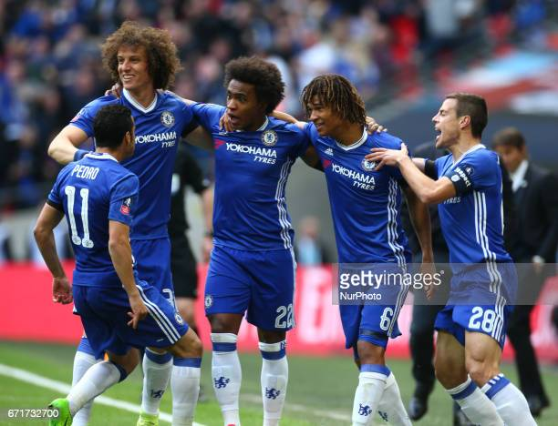 Chelsea's Willian celebrates scoring his sides first goal during The Emirates FA Cup SemiFinal match between Chelsea and Tottenham Hotspur at Wembley...