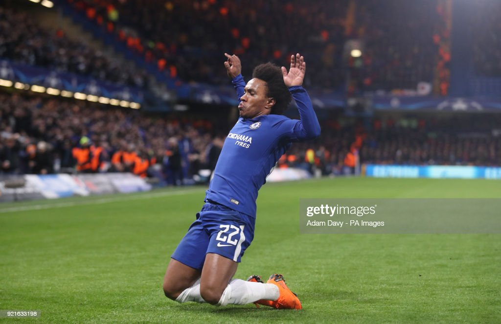 Chelsea's Willian celebrates scoring his side's first goal of the game during the UEFA Champions League round of sixteen, first leg match at Stamford Bridge, London.