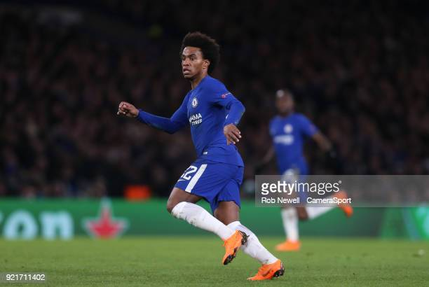 Chelsea's Willian during the UEFA Champions League Round of 16 First Leg match between Chelsea FC and FC Barcelona at Stamford Bridge on February 20...