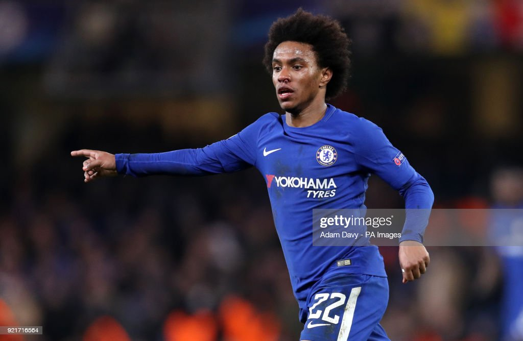 Chelsea's Willian during the UEFA Champions League round of sixteen, first leg match at Stamford Bridge, London. PRESS ASSOCIATION Photo. Picture date: Tuesday February 20, 2018. See PA story SOCCER Chelsea. Photo credit should read: Adam Davy/PA Wire