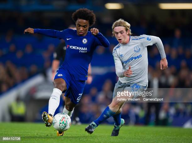 Chelsea's Willian holds off the challenge from Everton's Tom Davies during the Carabao Cup Fourth Round match between Chelsea and Everton at Stamford...