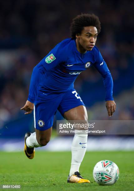 Chelsea's Willian in action during the Carabao Cup Fourth Round match between Chelsea and Everton at Stamford Bridge on October 25 2017 in London...