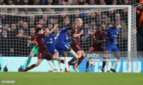 Chelsea's Willian scores his side's first goal during the UEFA Champions League Round of 16 First Leg match between Chelsea FC and FC Barcelona at...