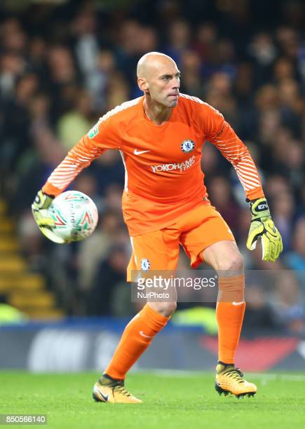 Chelsea's Willy Caballero during Carabao Cup 3rd Round match between Chelsea and Nottingham Forest at Stamford Bridge Stadium London England on 20...