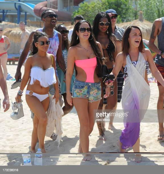 Chelsee Healey and Tulisa Contostavlos sighting at Reggae Beach in San Antonio on July 10 2013 in Ibiza Spain