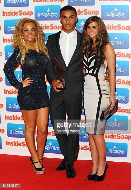 Chelsee Healey Lucien Laviscount and Rebecca Ryan from Waterloo Road with their Best Drama Award during the Inside Soap Awards 2011 at Gilgamesh on...