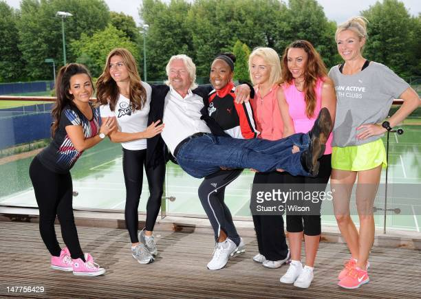 Chelsee Healey, Zoe Hardman, Sir Richard Branson, Angelica Bell, Lydia Bright, Michelle Heaton and Nell McAndrew attend a photocall to reveal Richard...