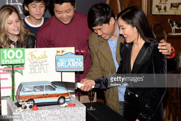 Chelsey Crisp Forrest Wheeler Hudson Yang Randall Park and Constance Wu attend the 'Fresh Off The Boat' 100th episode ABC celebration at Fox Studios...