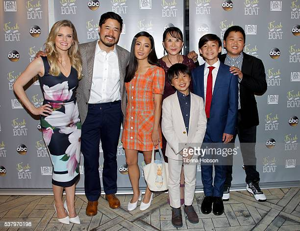 Chelsey Crisp Randall Park Constance Wu Lucille Soong Ian Chen Forrest Wheeler and Hudson Yang attend the Emmy FYC event for ABC's 'Fresh Off The...