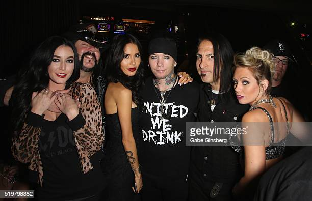 Chelsey Yeager drummer Vinnie Paul of Hellyeah model Nathalia Henao guitarist Dj Ashba of SixxAM guitarist Christian Brady of Hellyeah and Jessica...