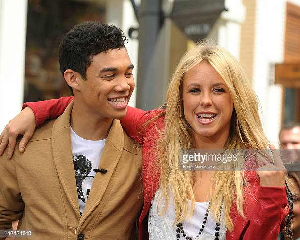 Chelsie Hightower and Roshon Fegan visit Extra at The Grove on April 4 2012 in Los Angeles California