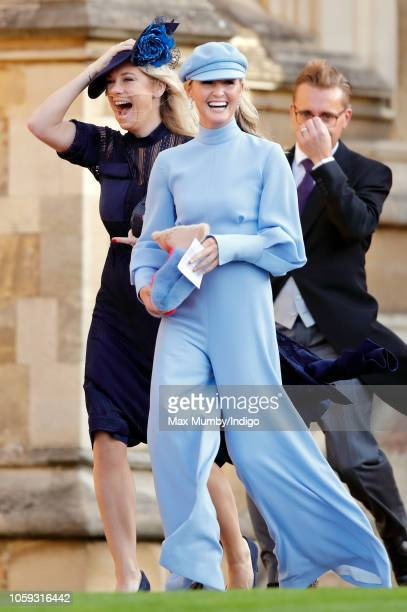 Chelsy Davy and Lady Melissa Percy attend the wedding of Princess Eugenie of York and Jack Brooksbank at St George's Chapel on October 12, 2018 in...