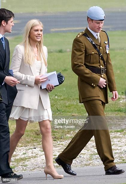 Chelsy Davy and Prince Harry leave after Prince Harry received his flying badges at the Museum of Army Flying on May 7 2010 in Middle Wallup England