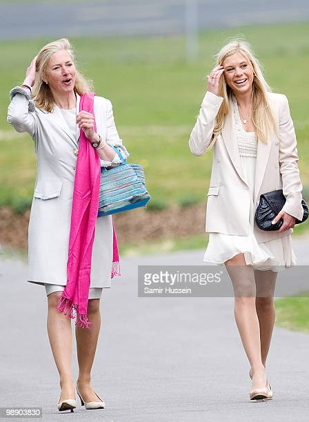 Chelsy Davy and Tiggy LeggeBourke leave after Prince Harry received his flying badges at the Museum of Army Flying on May 7 2010 in Middle Wallup...
