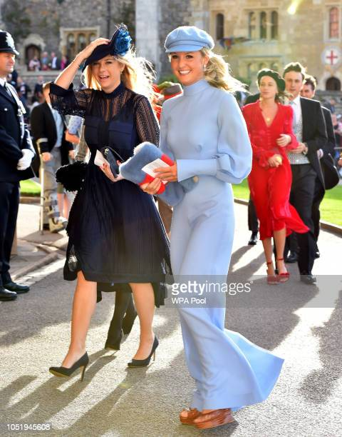 Chelsy Davy arrives ahead of the wedding of Princess Eugenie of York to Jack Brooksbank at Windsor Castle on October 12 2018 in Windsor England