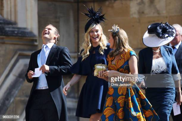 Chelsy Davy arrives at the wedding of Prince Harry to Ms Meghan Markle at St George's Chapel Windsor Castle on May 19 2018 in Windsor England