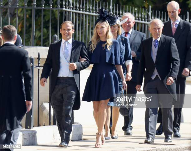 Chelsy Davy arrives at the wedding of Prince Harry to Ms Meghan Markle at St George's Chapel Windsor Castle on May 19 2018 in Windsor England Prince...