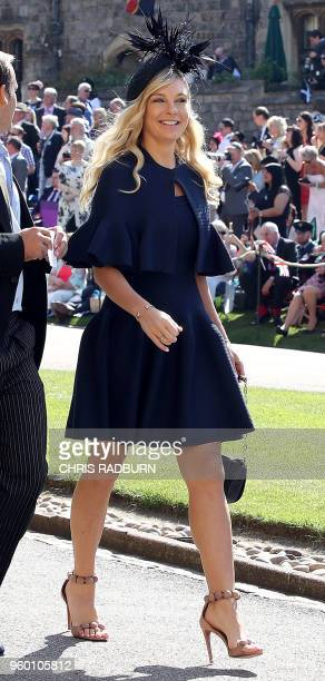 Chelsy Davy arrives with guests for the wedding ceremony of Britain's Prince Harry Duke of Sussex and US actress Meghan Markle at St George's Chapel...