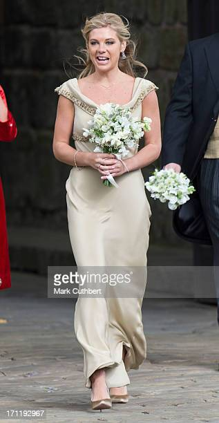 Chelsy Davy attends the wedding of Melissa Percy and Thomas van Straubenzee at Alnwick Castle on June 22 2013 in Alnwick England