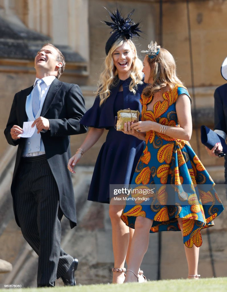 Chelsy Davy (c) attends the wedding of Prince Harry to Ms Meghan Markle at St George's Chapel, Windsor Castle on May 19, 2018 in Windsor, England. Prince Henry Charles Albert David of Wales marries Ms. Meghan Markle in a service at St George's Chapel inside the grounds of Windsor Castle. Among the guests were 2200 members of the public, the royal family and Ms. Markle's Mother Doria Ragland.
