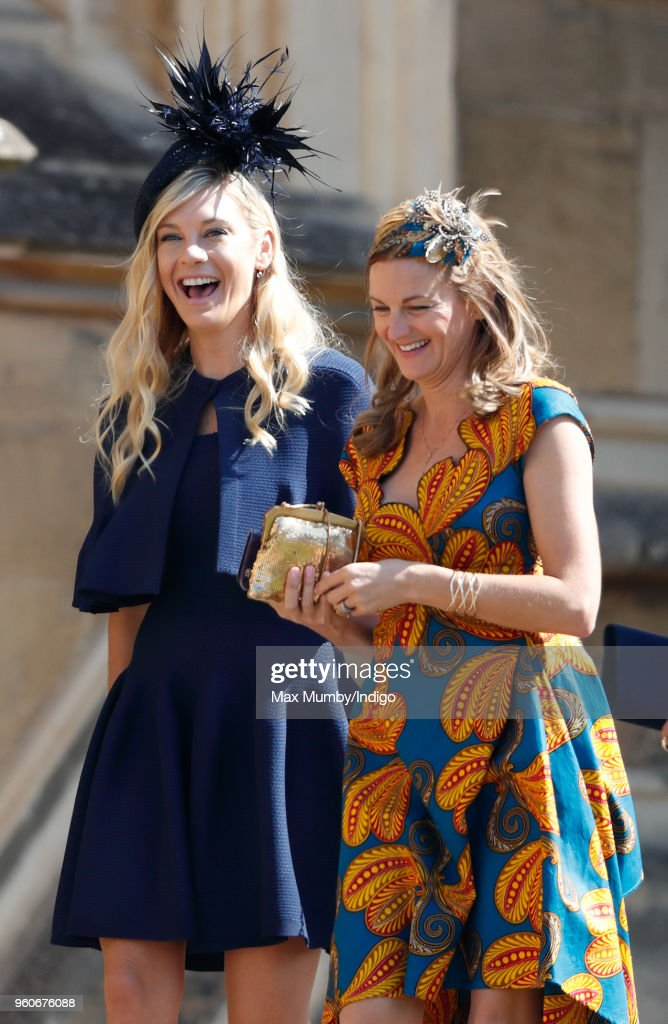Chelsy Davy (l) attends the wedding of Prince Harry to Ms Meghan Markle at St George's Chapel, Windsor Castle on May 19, 2018 in Windsor, England. Prince Henry Charles Albert David of Wales marries Ms. Meghan Markle in a service at St George's Chapel inside the grounds of Windsor Castle. Among the guests were 2200 members of the public, the royal family and Ms. Markle's Mother Doria Ragland.