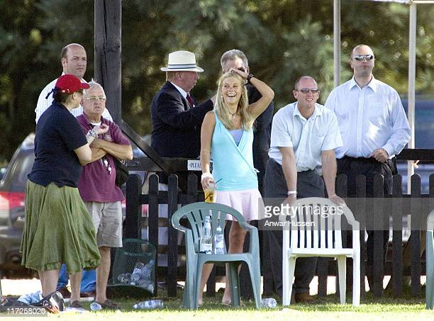 Chelsy Davy girlfriend of Prince Harry as she watches the Prince play polo July 16 at Guards Polo ground Windsor