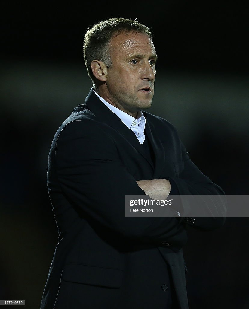 Cheltenham Town manager Mark Yates looks on during the npower League Two Play Off Semi Final 1st leg match between Northampton Town and Cheltenham Town at Sixfields Stadium on May 2, 2013 in Northampton, England.