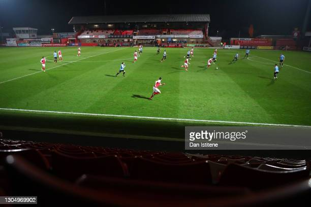 Cheltenham Town players attack during the Sky Bet League Two match between Cheltenham Town and Southend United at The Jonny-Rocks Stadium on March...