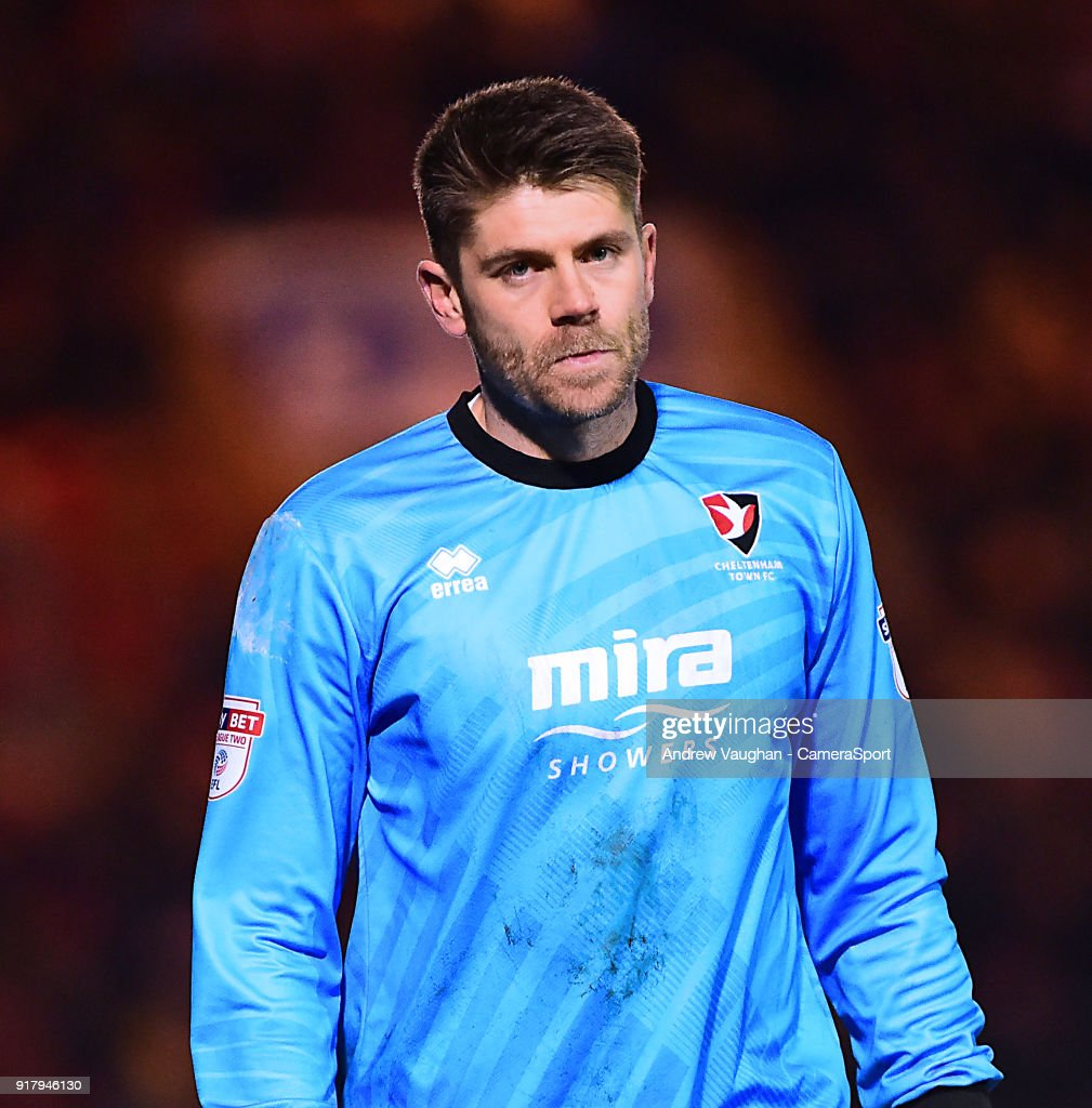 Cheltenham Town's Scott Flinders during the Sky Bet League Two match between Lincoln City and Cheltenham Town at Sincil Bank Stadium on February 13, 2018 in Lincoln, England.