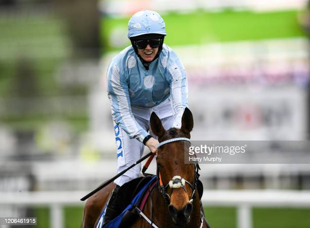 Cheltenham United Kingdom 10 March 2020 Honeysuckle with Rachael Blackmore up celebrates after winning the Close Brothers Mares´ Hurdle on Day One of...