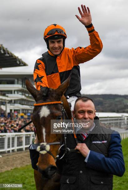 Cheltenham United Kingdom 10 March 2020 Jockey Aidan Coleman on Put The Kettle On celebrates after winning the Racing Post Arkle Challenge Trophy...