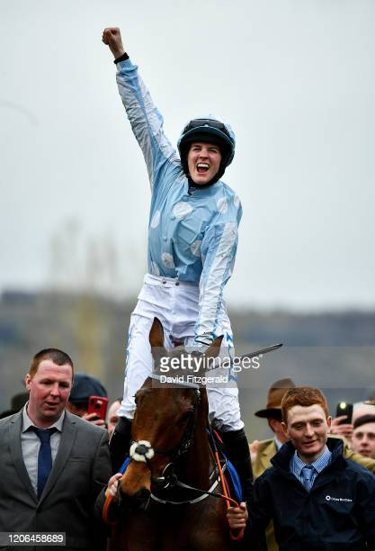 Cheltenham United Kingdom 10 March 2020 Jockey Rachael Blackmore on Honeysuckle celebrates after winning the Close Brothers Mares' Hurdle on Day One...