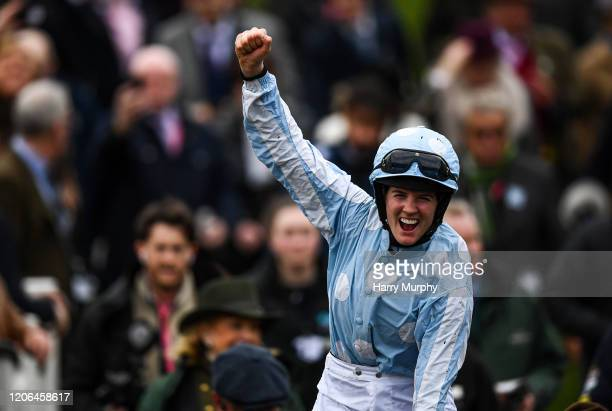 Cheltenham United Kingdom 10 March 2020 Jockey Rachael Blackmore celebrates after winning the Close Brothers Mares' Hurdle on Honeysuckle during Day...
