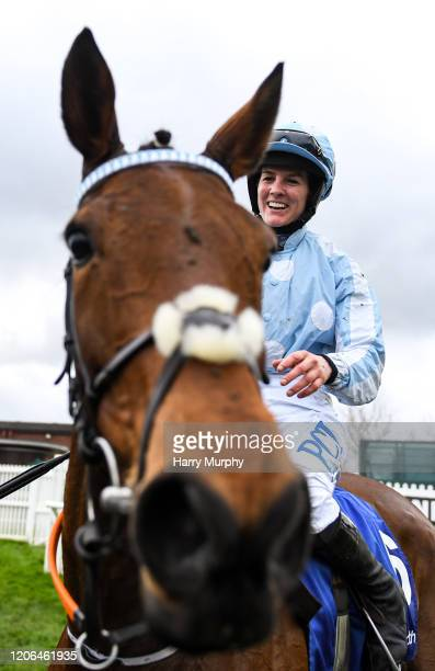 Cheltenham United Kingdom 10 March 2020 Jockey Rachael Blackmore celebrates after winning the Close Brothers Mares´ Hurdle on Honeysuckle during Day...
