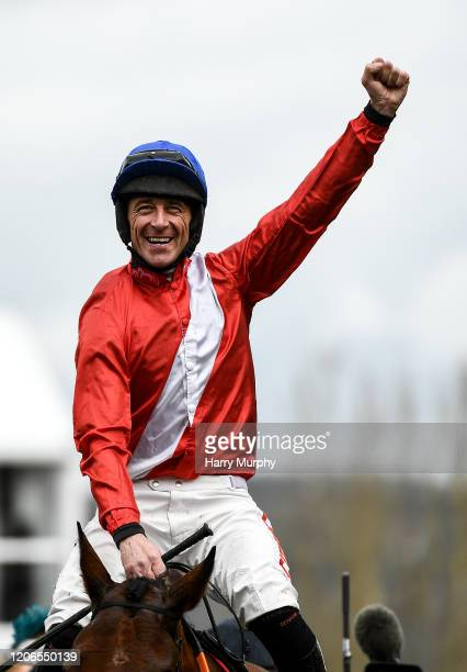Cheltenham United Kingdom 11 March 2020 Jockey Davy Russell celebrates after winning the Ballymore Novices' Hurdle on Envoi Allen during Day Two of...