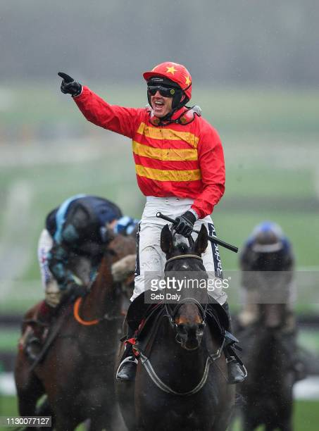 Cheltenham United Kingdom 12 March 2019 Jockey Ruby Walsh celebrates as he crosses the line to win the Sky Bet Supreme Novices' Hurdle on Klassical...