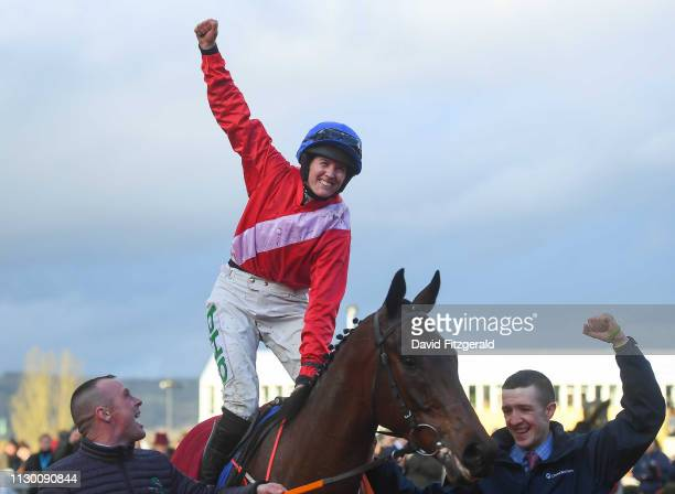 Cheltenham United Kingdom 12 March 2019 Rachael Blackmore celebrates on A Plus Tard after winning the Close Brothers Novices' Handicap Chase on Day...