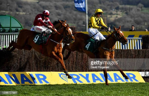 Cheltenham United Kingdom 12 March 2020 Melon with Patrick Mullins up right leads the eventual winner Samcro with Davy Russell up as they jump the...
