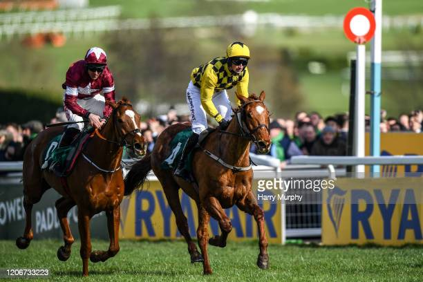 Cheltenham United Kingdom 12 March 2020 Samcro with Davy Russell up beats Melon with Partick Mullins up in a close finish during the Marsh Novices'...
