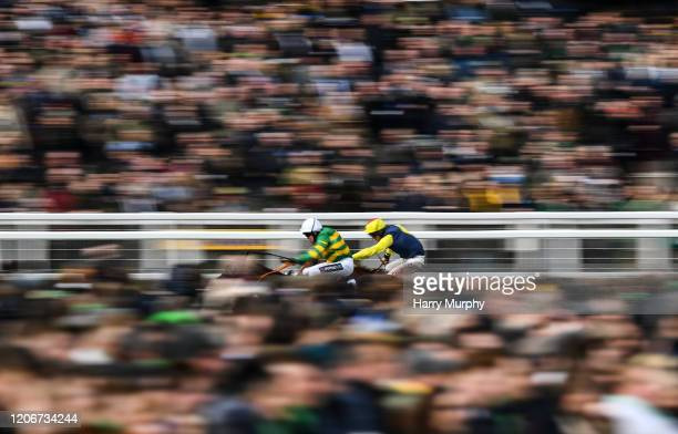 Cheltenham United Kingdom 12 March 2020 Sire Du Berlais with Barry Geraghty up left on their way to winning the Pertemps Network Final Handicap...