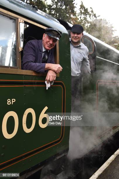 Cheltenham United Kingdom 13 March 2018 Driver Clive Norton from Studley Warwickshire left and Fireman Ed Brooks from Banbury Oxfordshire after...
