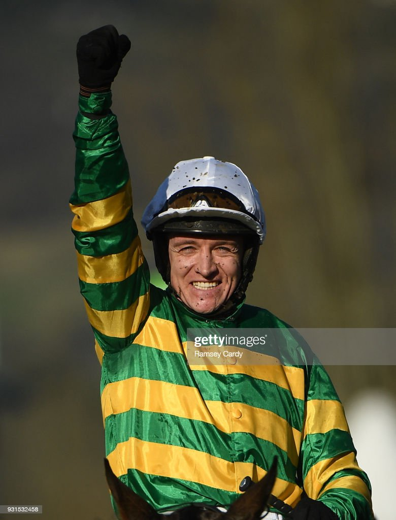 Cheltenham , United Kingdom - 13 March 2018; Jockey Barry Geraghty, celebrates after winning The UniBet Champion Hurdle Challenge Trophy on Buveur D'air, on Day One of the Cheltenham Racing Festival at Prestbury Park in Cheltenham, England.