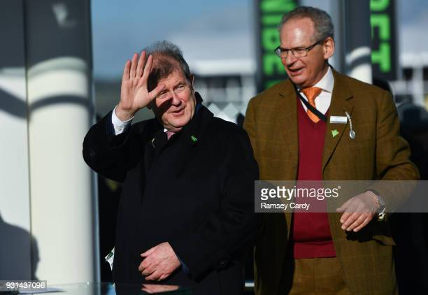 Cheltenham United Kingdom 13 March 2018 Owner JP McManus celebrates after winning the UniBet Champion Hurdle Challenge Trophy with Buveur D'air on...
