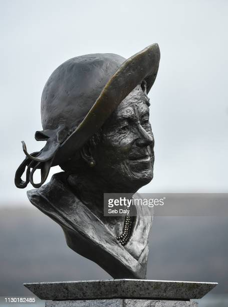 Cheltenham , United Kingdom - 13 March 2019; A view of a statue of the Queen Mother, Elizabeth Bowes-Lyon, in the parade ring prior to racing on Day...
