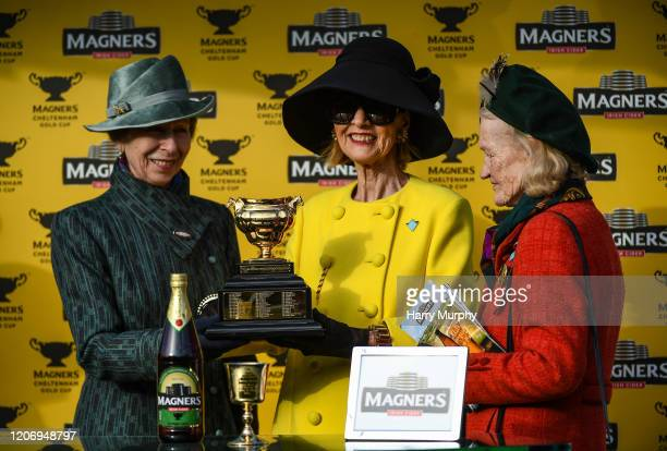 Cheltenham United Kingdom 13 March 2020 Anne Princess Royal left with Representetive Owner Marie Donnelly centre and wife of trainer Willie Mullins...