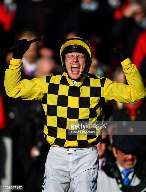 Cheltenham United Kingdom 13 March 2020 Jockey Paul Townend celebrates after winning the Magners Cheltenham Gold Cup Chase on Al Boum Photo on Day...