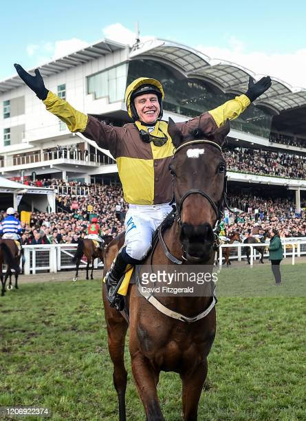Cheltenham United Kingdom 13 March 2020 Paul Townend on Burning Victory after winning the JCB Triumph Hurdle on Day Four of the Cheltenham Racing...