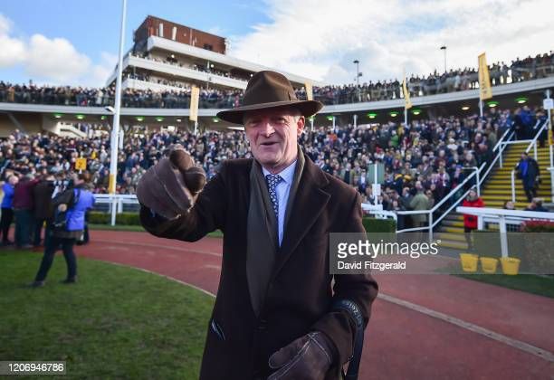 Cheltenham United Kingdom 13 March 2020 Trainer Willie Mullins celebrates after he sent out Al Boum Photo to win the Magners Cheltenham Gold Cup...