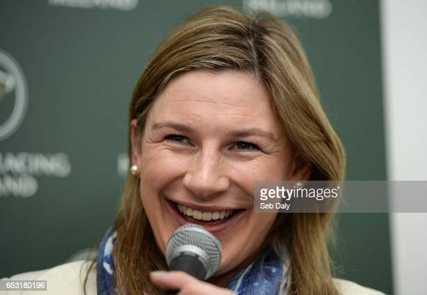 Cheltenham United Kingdom 14 March 2017 Jockey Nina Carberry during a press conference prior to the Cheltenham Racing Festival at Prestbury Park in...